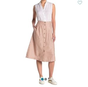 Madewell Patio Button Front Midi Skirt